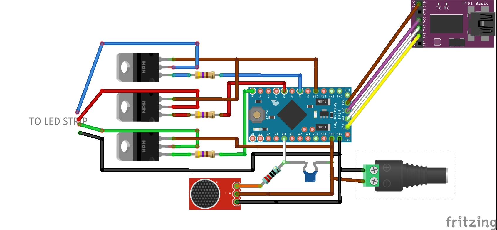Microphone, arduino, transistors and LED strip circuit