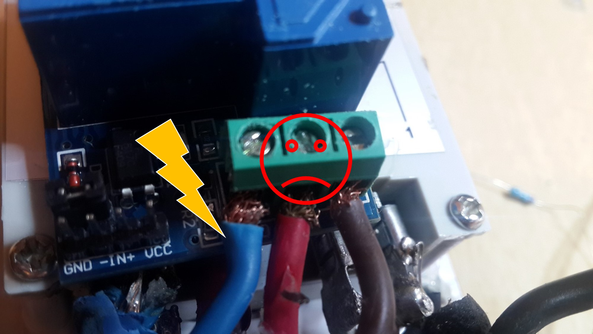 Relay exposed wires