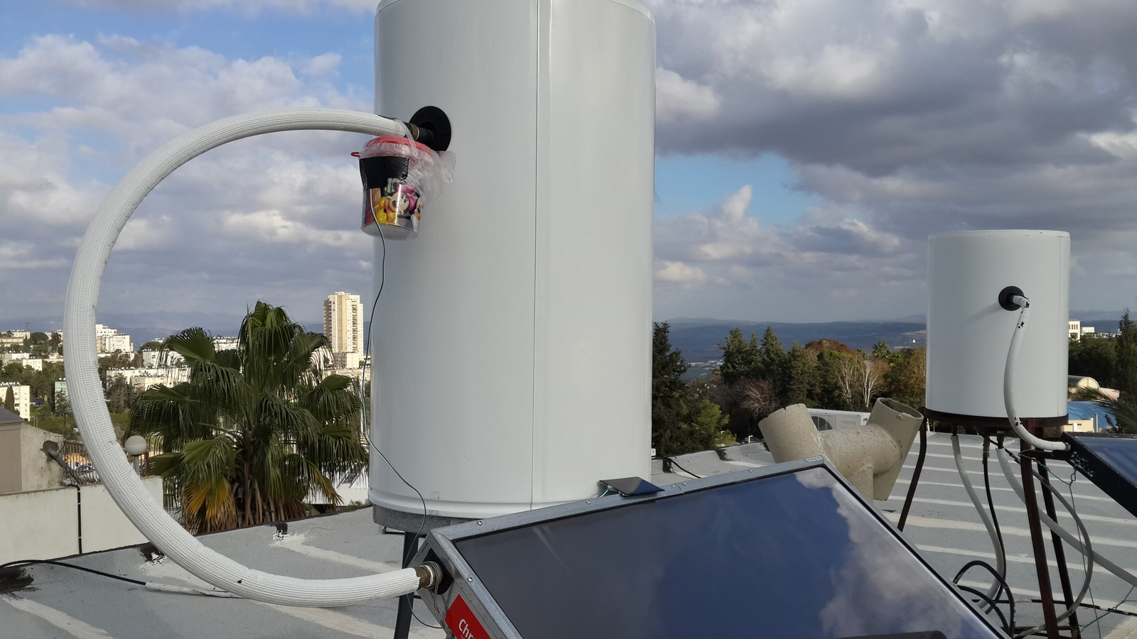 Solar powered ESP8266 on a water heater
