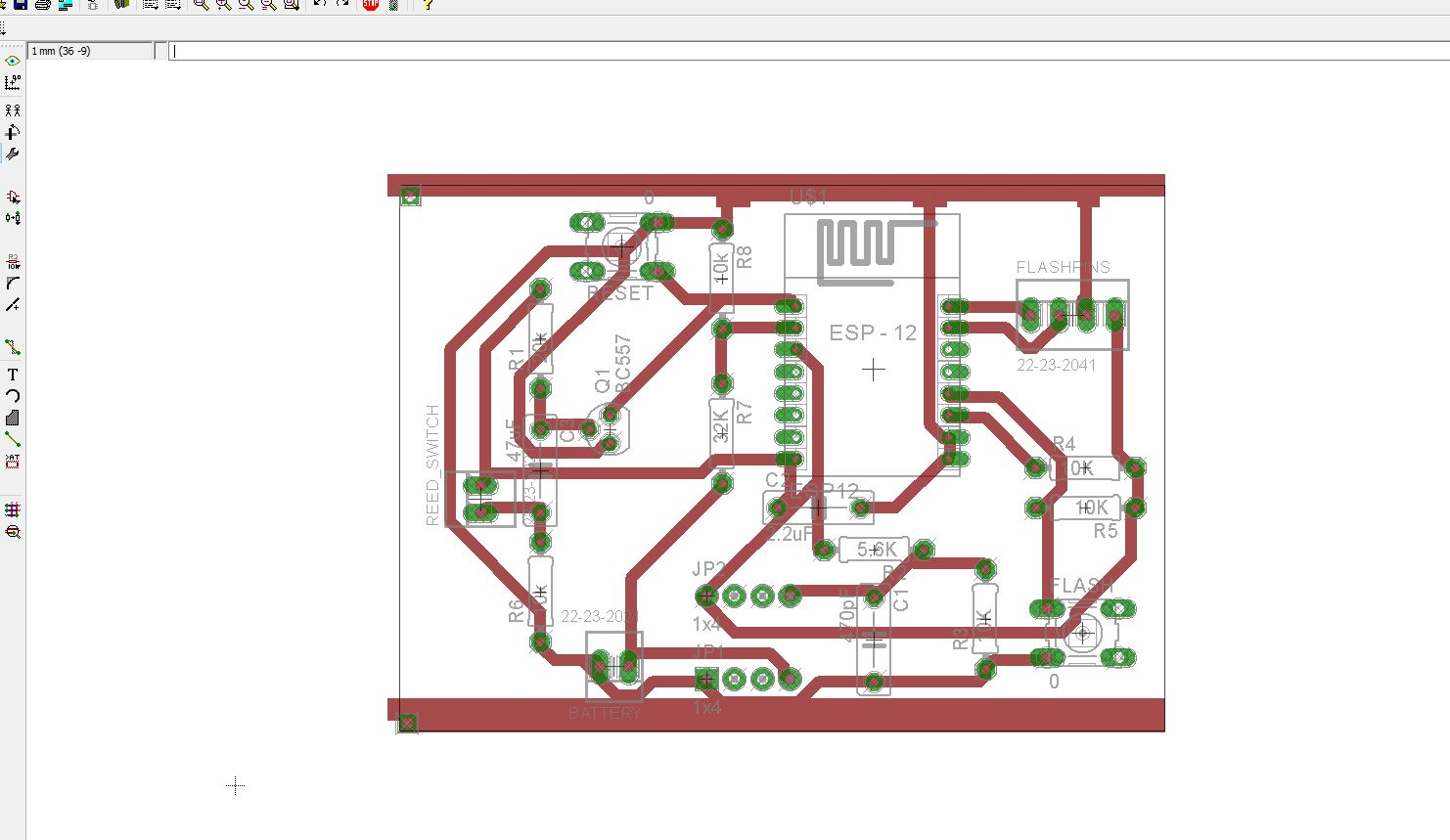 ESP8266 Eagle board design notifier reed switch auto-routing