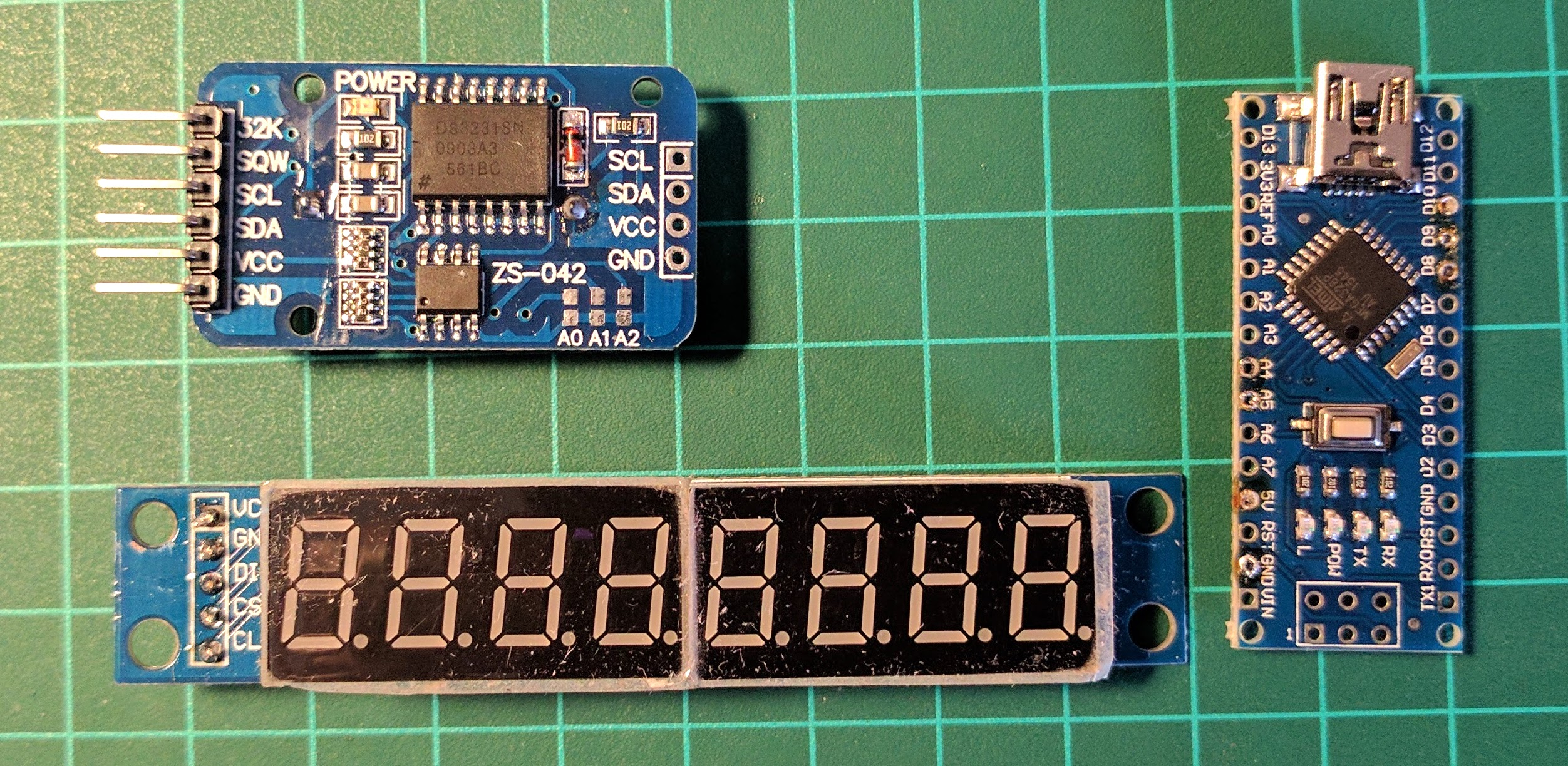8 Digit 7 Segment Clock Calendar Thermometer Arduino And Ds3231 Real Time Circuit Schematics Heres My Component List