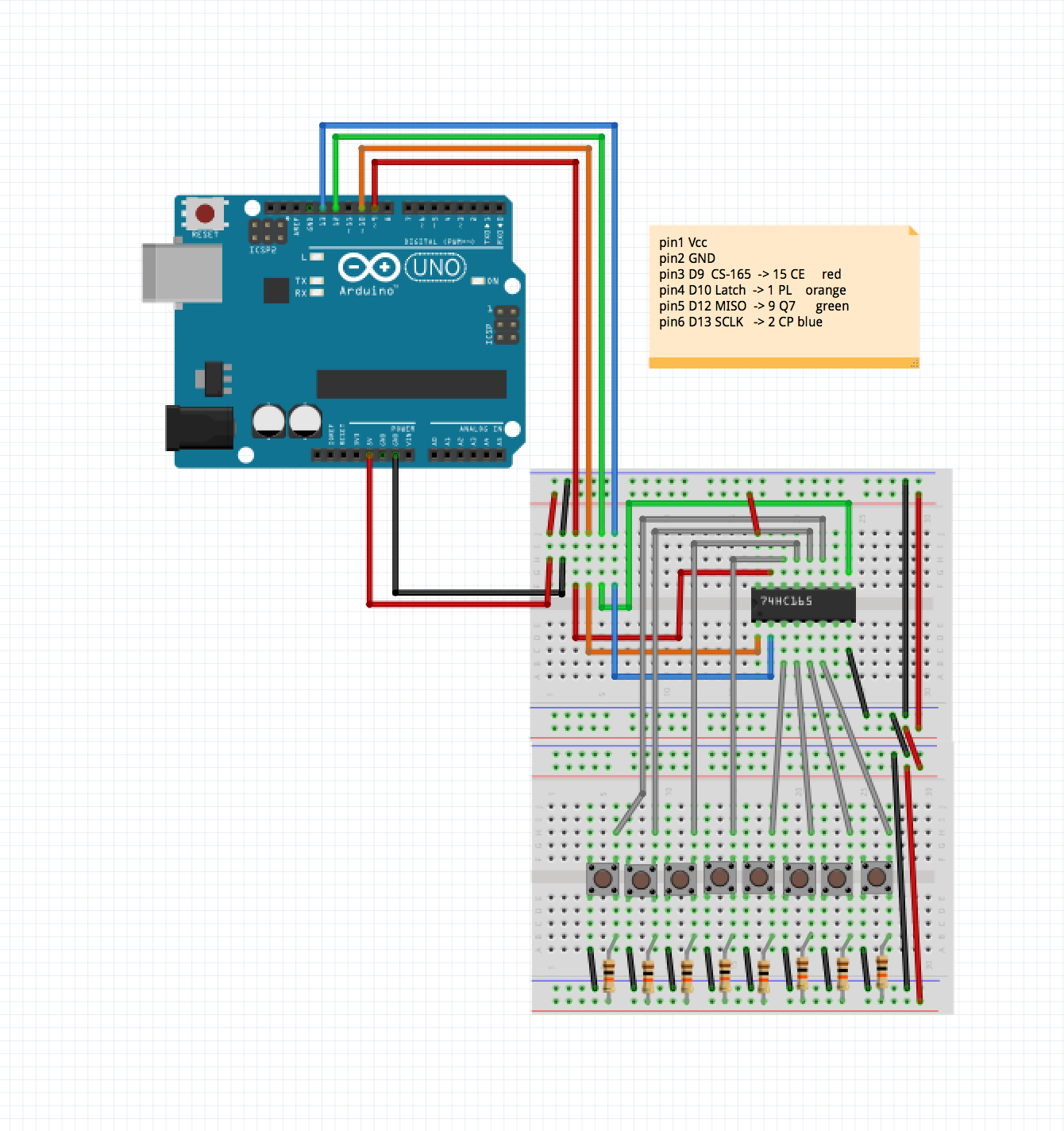 Pcb From Concept To Design Fabrication And Testing Using Fritzing Finally Here Are My Perfboard Layouts Some Pictures Breadboard In Arduino C The Code Receive An 8 Bit Value 74165 Chip Is Simply